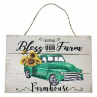 "12"" X 8"" Wooden Sign With Rope ""Bless The Farm"" Green Truck"
