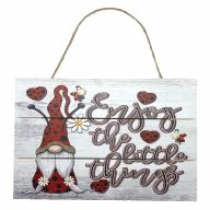 """12"""" X 8"""" Wooden Sign With Rope """"Enjoy The Little Things"""" Gnomies And Ladybugs"""