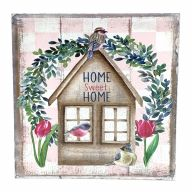 """10"""" X 10"""" Wooden """"Home Sweet Home"""" Birdhouse Sign w/ Rope"""