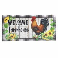 """6"""" X 12"""" MDF """"Welcome To Our Farmhouse"""" Chicken Sign w/ Rope"""