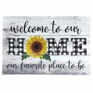 """12"""" X 8"""" Wooden """"Welcome To Our Home"""" Sunflower Sign w/ Rope"""