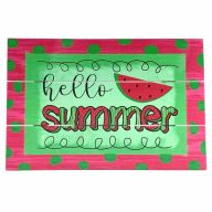 """12"""" X 8"""" Wooden """"Hello Summer"""" Watermelon Sign w/ Rope"""
