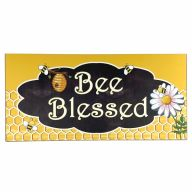 """6"""" X 12"""" MDF Distressed """"Bee Blessed"""" Sign w/ Rope"""
