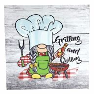"""10"""" X 10"""" MDF """"Grilling And Chilling"""" Sign w/ Rope"""