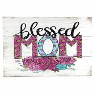 "12"" X 8"" Wooden ""Blessed Mom"" Sign w/ Rope"