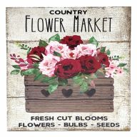 """10"""" X 10"""" MDF Country Flower Market Sign w/ Rope"""
