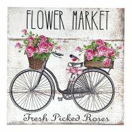 "10"" X 10"" MDF Flower Market Sign w/ Rope"