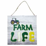 "10"" X 10"" MDF ""Farm Life"" Sign w/ Rope"