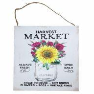 """10"""" X 10"""" MDF """"Harvest Market"""" Sign w/ Rope"""