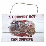 """12"""" X 8"""" Wooden """"A Country Boy Can Survive"""" Sign w/ Rope"""