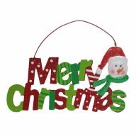 "11.2"" X 0.20"" X 6.42"" MDF Merry Christmas Snowman Sign"