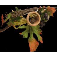 """7 """" Fall Leaves Pick w / Clay Pot Berries Raffia"""