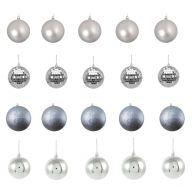 20 Asst 30mm Ornaments - Silver
