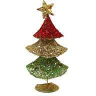 "12"" TRIPLE WIRE TREE GLITTER SEQUIN BEADS W/STAR-RED/GOLD/GREEN"