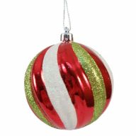 80MM HANGING GLITTER BALL-RED/GREEN/WHITE