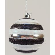 80MM HANGING GLITTER BALL-SILVER/BLACK