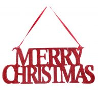 "14 "" X 5.5 "" Merry Christmas Sign - Red"
