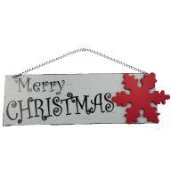 Hanging Merry Christmas Plaque Red Snowflake