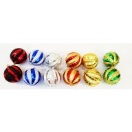 S/2 80MM HANGING GLITTER STRIPE BALL