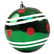 100mm Ball Ornament - Green / Red Dots