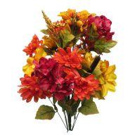 X 24 Dahlia Hydrangea - Yellow / Burgundy / Orange