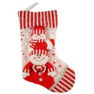 """16 """" Stocking W 2 Snowmen - Red / White"""