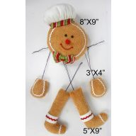 "8""X9"" Gingerbread Head w/ Hands and Legs - Tan / Red / Green / White"