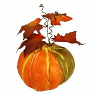 "6"" X 3.25"" Pumpkin w/ Leaves - Orange"
