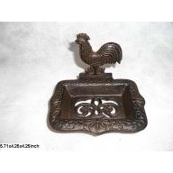 """Rooster Soap Holder 5.51 X 3.94 X 3.94 """" Cast Iron"""