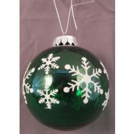 100 mm Ball w / Snowflake Painting - Green