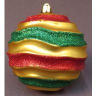 100 mm Matt Ribbed Ball w / Glitter - Gold / Red / Green