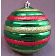 100 mm Shiny Ribbed Ball w / Glitter - Lime / Red / Lime