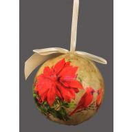 100 mm Ball Poinsettia / Cardinal Scene