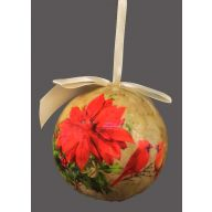 150 MM Ball Poinsettia / Cardinal Scene