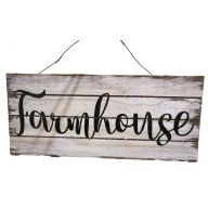 "11.75 "" x 0.5 "" x 5.25"" Wood Plaque w/Wording ""Farmhouse"" and Hanger"