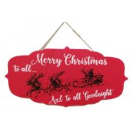 "15.67 "" x 0.25 "" x 7.88"" Wood Plaque w/Wording ""Merry Christmas to all... And to all Goodnight"" and Hanger"