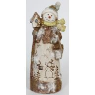 S/2 SNOWMAN PAPER PULP TABLE PIECE 11.75""
