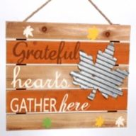 """12.87""""L X 9.7""""H  """"Grateful hearts GATHER here"""" Sign"""