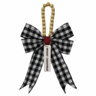 "13"" X 7.25"" X 1"" Plaid Bow w/ Beaded Hanger & ""Merry Christmas"" Tag"