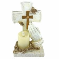 """5.25"""" X 3.75"""" X 8.25"""" Resin Cross Praying Hands w/ Candle"""