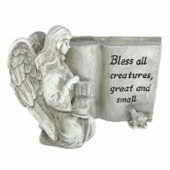 """7"""" X 4.25"""" X 5.25"""" Resin Angel Kneeling w/ Dove """"Bless All Creatures Great And Small"""""""