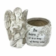 """9"""" X 5"""" X 6.75"""" Resin Angel Kneeling Planter """"Be Happy It Is A Way Of Being Wise"""""""