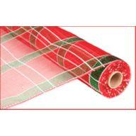 """10"""" X 10yd Metallic Plaid Mesh - Red / Emerald / White"""