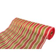 "10"" X 10yd Deluxe Metallic Stripe - Red Mesh / Red / Lime Metallic"