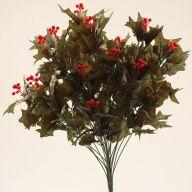 X24 Dark Green Holly Bush Hard Berries