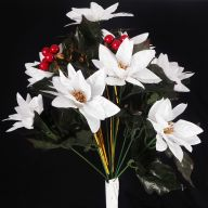 X12 Satin Poinsettia Bush W/ Berries & Tinsel