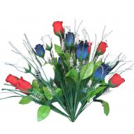 X18 Rosebud Bush - Red / White / Blue