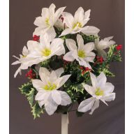 """X 24 Poinsettia Glitter Center Varigated Holly Red Berries 21 """" H"""