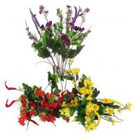X18 Mix Plastic Wildflower Assortment - Red / Yellow / Purple - 3 Assorted (Sold By Pack Of 12 - 4 Of Each )