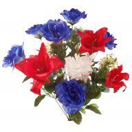 X24 Satin Tiger Lily Rose Mum Bush - Red / White / Blue